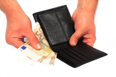 wallet and money on a white background photo