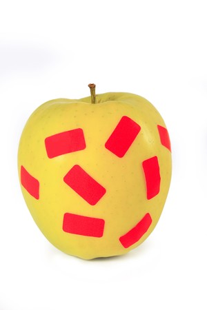 yellow apple with isolated patches of white