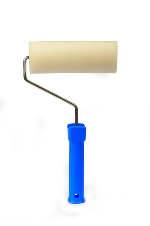 foam paint roller handle with blue on white background