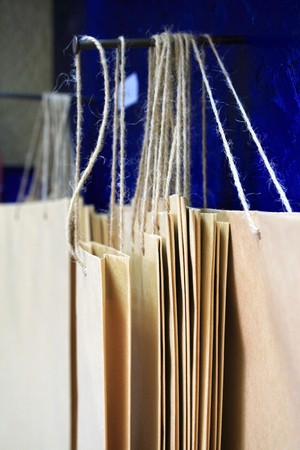 Paper bags hung close-up