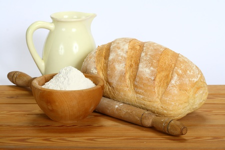 fresh bread on the table on a white background Stock Photo
