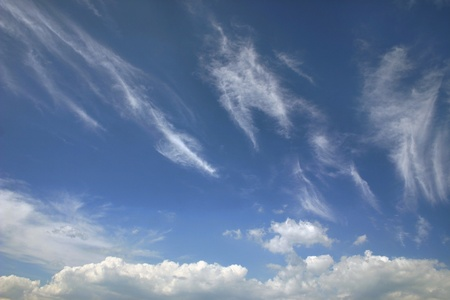 blue skies and white clouds Stock Photo