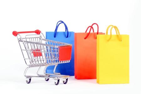 shopping cart isolated on white background Stock Photo - 9240104