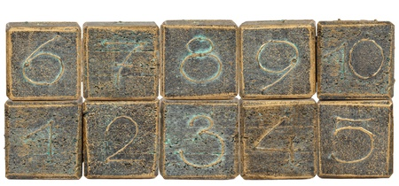 Wooden blocks with numbers on white background  Stock Photo