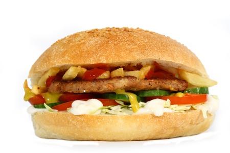 hamburger with vegetables on white background