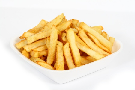 French fries closeup on white background
