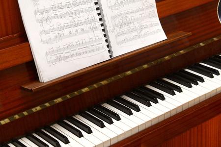 piano lesson: keys of the piano closeup