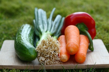Organic vegetables on a board close up Stock Photo