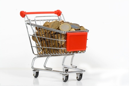 shopping cart full of money in the short term Stock Photo - 13093145