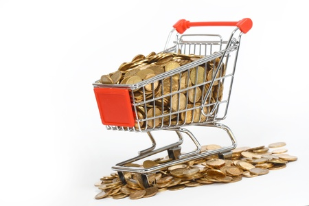 shopping cart full of money in the short term Stock Photo - 13211109