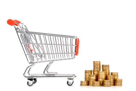 Money and shopping cart on a white background Stock Photo - 13383893