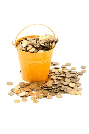 Crowded pot of money on white background