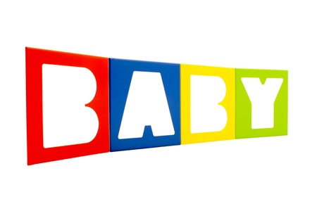The word  Baby  written with alphabet isolated on white background  Stock Photo