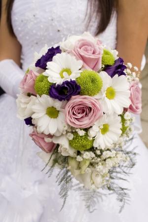 Beautiful fresh  bridal bouquet close-up