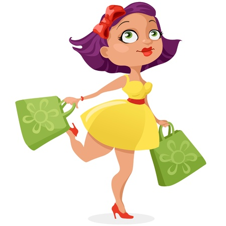 Glad the girl out of the store with two green packages Stock Vector - 19745551