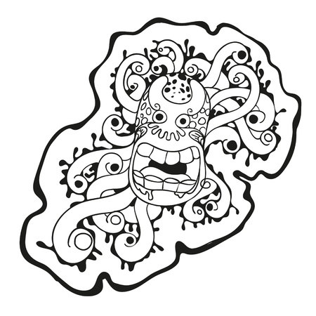 Cartoon cute black and white virus monster Stock Vector - 20135044