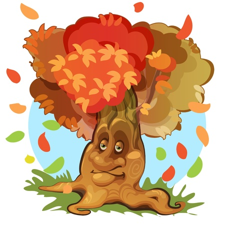 cute autumn tree at green meadow Stock Vector - 20140876