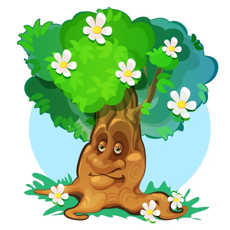 cute spring tree at green meadow Stock Vector - 20140880