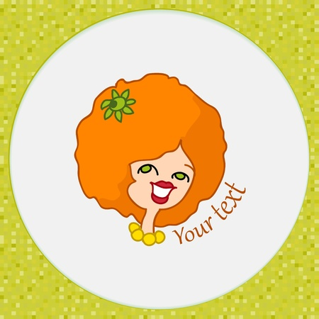 Icon of orange girl on abstract background Vector