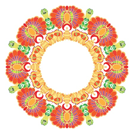 Ornamental round lace pattern etnic style