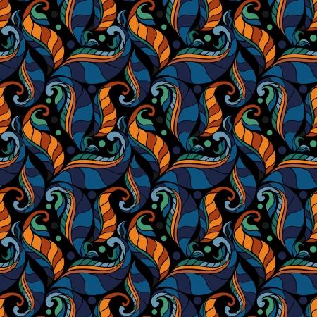 seamless floral pattern on black background Illustration
