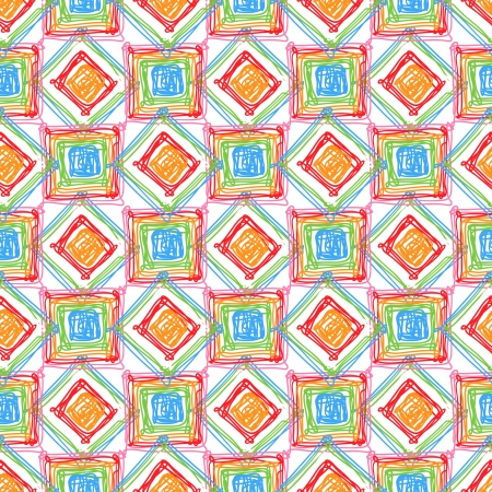 Seamless geometric pattern with colored doodles cubes and rombes