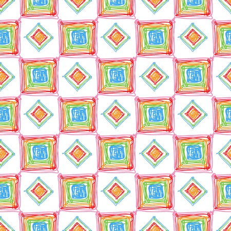 Seamless geometric pattern with doodles cubes and rombes Illustration