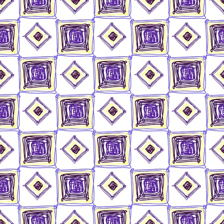Seamless geometric pattern with purple cubes and rombes Illustration