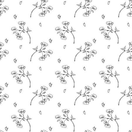 seamless pattern apple tree branch little