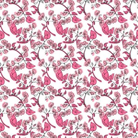 seamless pattern pink apple tree branch Illustration