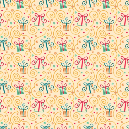 seamless pattern with doodles gift boxes
