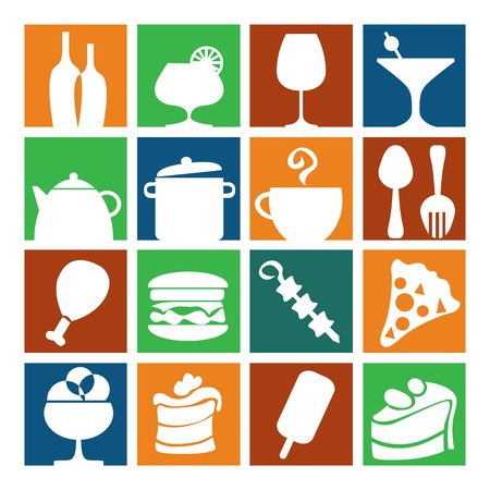 set of icons dishes, food and holiday Vector