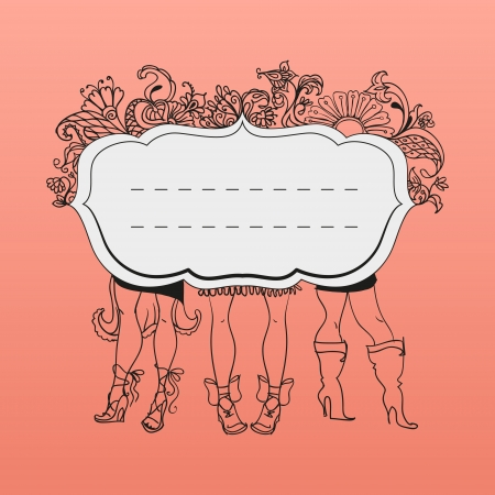 vintage frame with girl shoes and legs and floral ornament