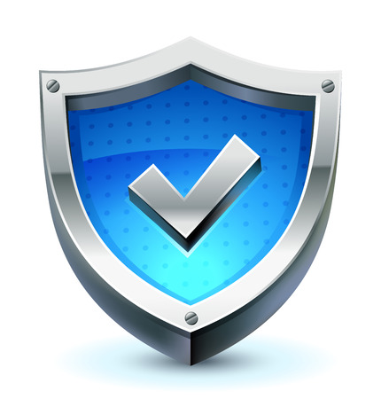 safety check: shield with check mark as protection and safety icon
