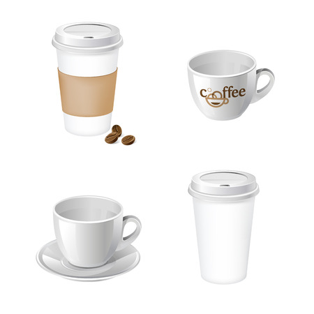 Paper cup and classic cup for your design and branding. Realistic cups with label and holder.