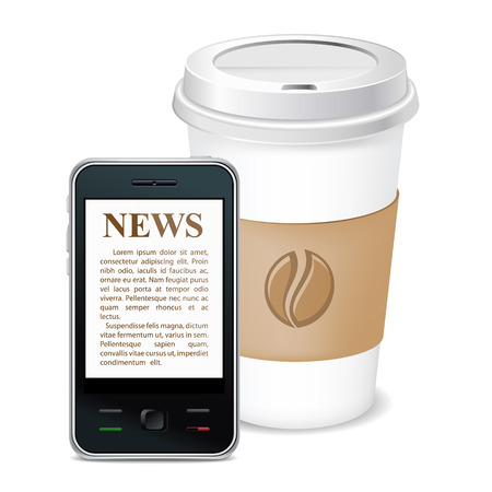 newsfeed: Morning coffee and news on phone.