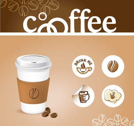 coffee creative background - coffee cup with stickers