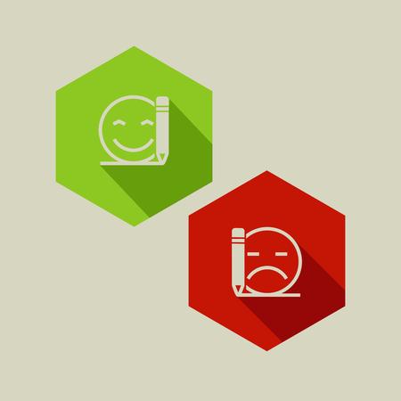 bad or good review flat icons Ilustração