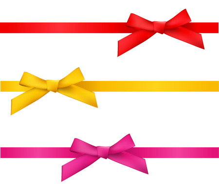 pink satin: ribbon bows - red,gold,pink collection. isolated on white.