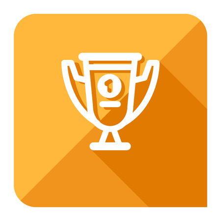 trophy or first place cup icon. trendy flat style. Illustration