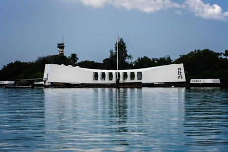Pearl Harbor, Hawaii - February 8, 2009 -  arriving at U S S  Arizona Memorial first thing at dawn