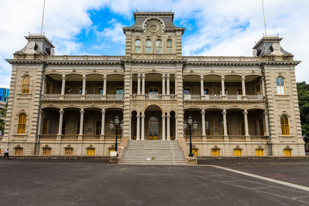 Honolulu, Hawaii - March 2, 2013 -  Iolani palace in downtown Honolulu, front view