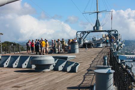 Pearl Harbor, Hawaii - February 10, 2009   Visitors upon U S S  Missouri Battleship receive a guided tour .