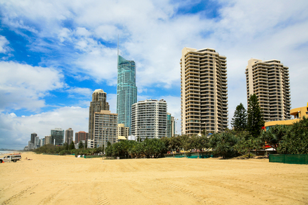 surfers paradise: Surfers Paradise beach area with hotels, Gold Coast