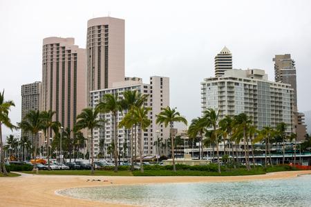 Duke Kahanamoku Lagoon before shopping precinct, west Waikiki, Hawaii Stock Photo