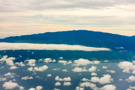 Clouds in atmosphere, aerial view over Hawaiian Islands