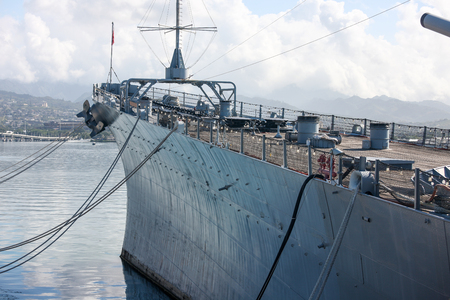 Battleship Missouri at Pearl Harbor, Hawaii Stock Photo