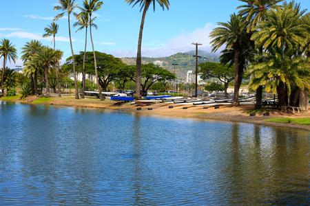 Ala Wai Canal, Waikiki, Hawaii Stock Photo