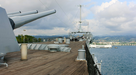 Battleship Missouri facing U.S.S. Arizona Memorial at Pearl Harbor, Hawaii