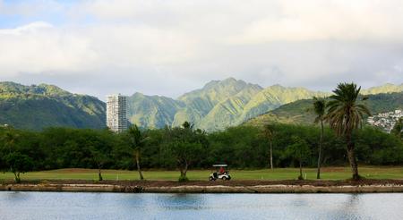 Ala Wai Golf Course along Ala Wai Canal, Hawaii Stock Photo